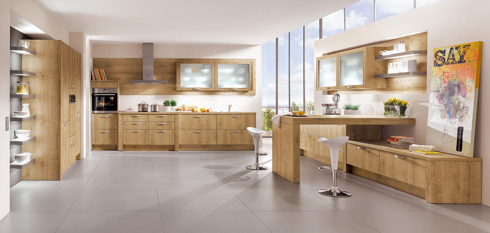 Cucina e zona Living marca Nobilia Made in Germany.